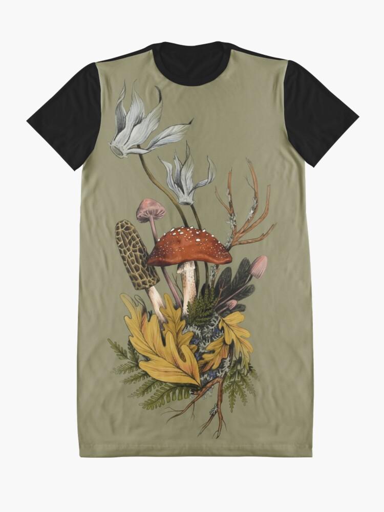 Alternate view of Autumnal Mushroom Woodland Scene Graphic T-Shirt Dress