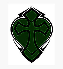 Cross & Heart - Green Photographic Print