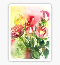Watercolour painting of roses Day 409. Sticker