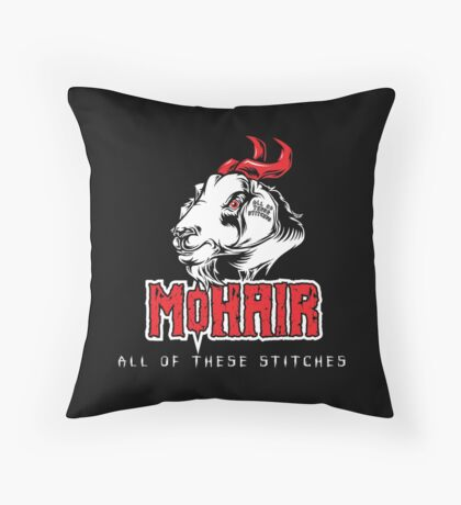 Heavy Metal Knitting - MoHair - All these stitches Throw Pillow