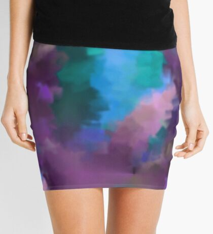 Abstract Blue Turquoise And Purple Colors Mini Skirt
