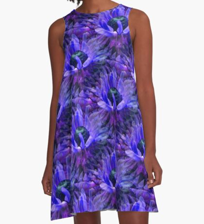 Abstract Purple Daisy Flower Pattern A-Line Dress