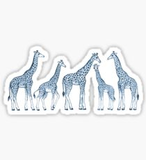 Navy Blue Giraffes on White Sticker