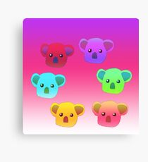 Winter Koalas - Pink/Purple Canvas Print