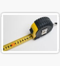 a yellow measuring tape on white background Sticker