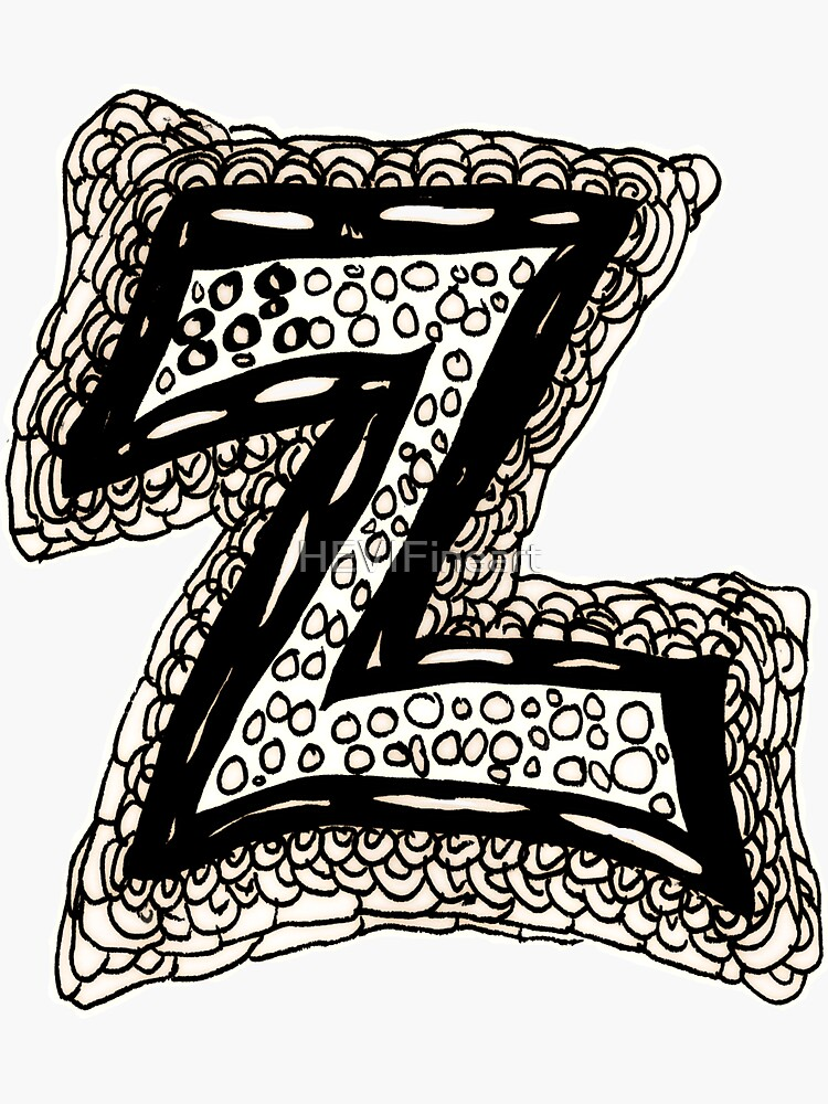 Upper case black and white alphabet Letter Z by HEVIFineart