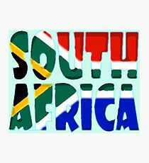 South Africa Font with South African Flag Photographic Print