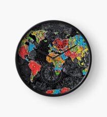 world map mandala black 1 Clock