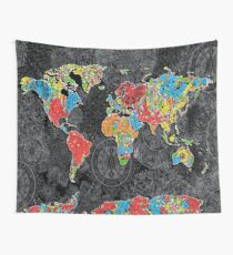 world map mandala black 1 Wall Tapestry