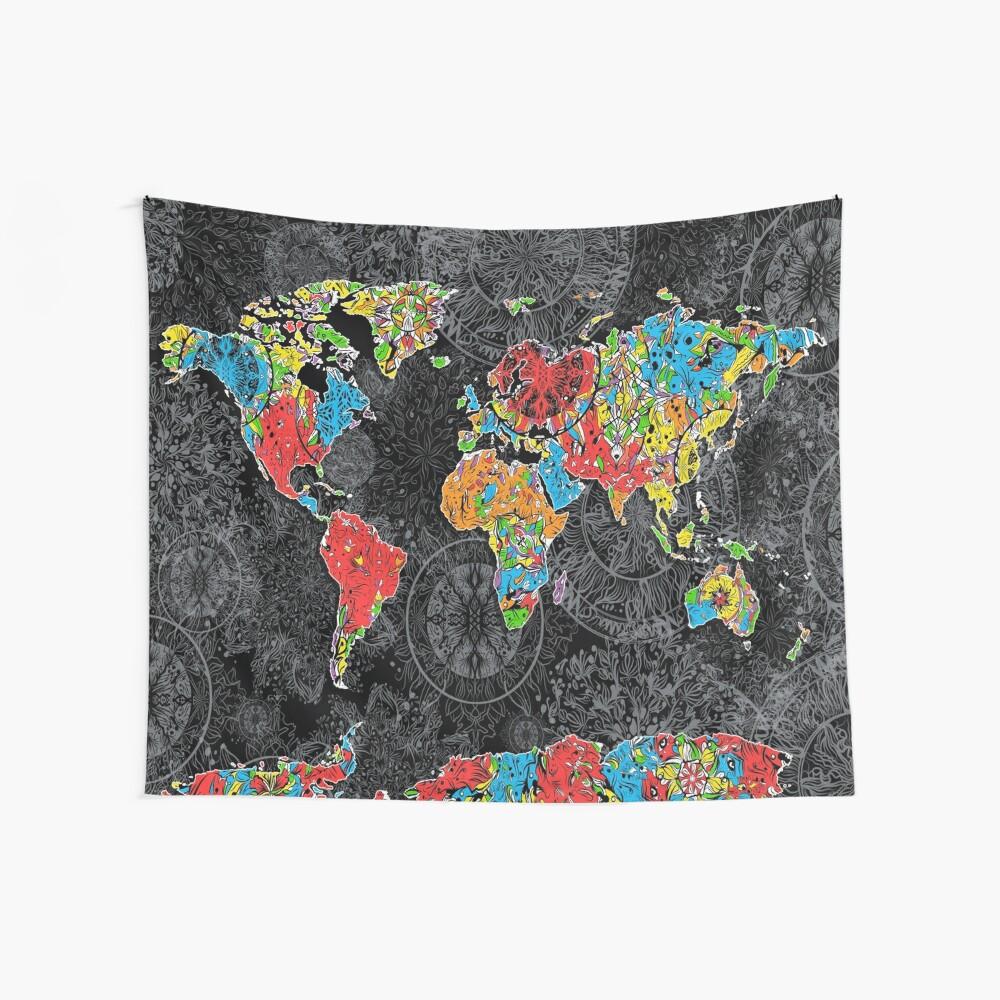 Weltkarte Mandala schwarz 1 Wandbehang