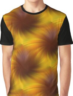 Swirling Yellow And Brown Abstract Pattern Graphic T-Shirt
