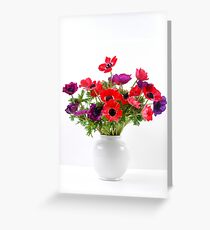 Red and purple Anemone coronaria in a white vase Greeting Card