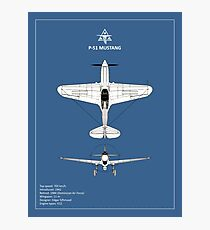 The P-51 Mustang Blueprint Photographic Print
