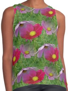 Cosmos Flowers Nature Pattern Contrast Tank