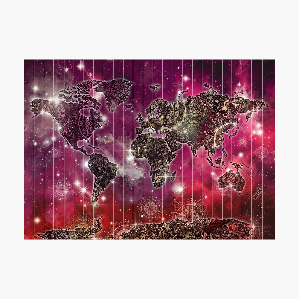 Weltkarte Mandala Raum 2 Fotodruck