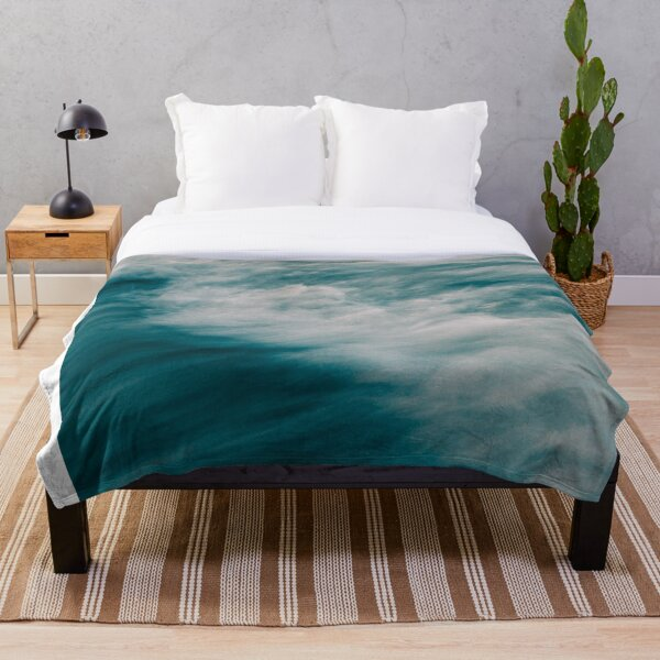 Blue and White Sea Waves - Moody Water Throw Blanket