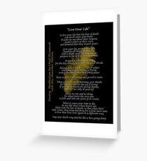 """Live Your Life""  Golden feather by Chief Tecumseh Greeting Card"