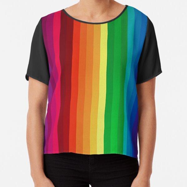 Rainbow Stripes T Shirt Chiffon Top