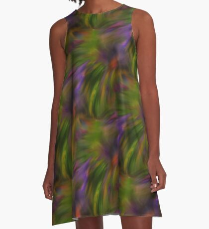 Abstract Colors Of Purple Green Yellow A-Line Dress