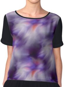 Blue Purple And White Abstract Colors Women's Chiffon Top