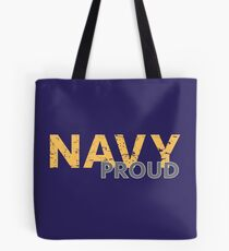 Navy Proud yellow distressed Tote Bag