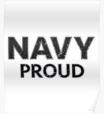 Navy Proud navy blue distressed Poster