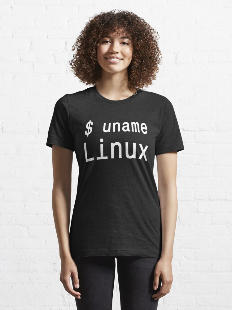 Alternate view of uname Linux - The only true answer - Cool White Text Design Essential T-Shirt