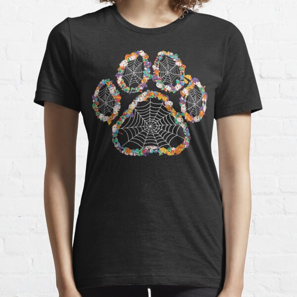 Paw Print Halloween Dog Candy Pumpkin Ghost Gift Women Girls  Essential T-Shirt