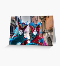 Venice - Carnival Mask 2012....03 - Twins Greeting Card