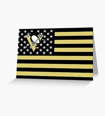 Penguins Hockey Flag Greeting Card
