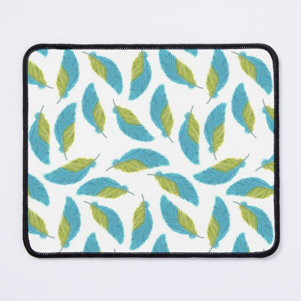Blue and yellow watercolor feather seamless pattern Mouse Pad