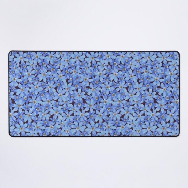 Blue spring watercolor flower seamless pattern Desk Mat