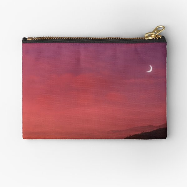 Sunset and moon over Italian mountain landscape (photography) Zipper Pouch