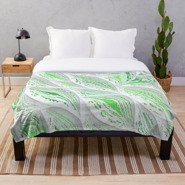 Abstract Green Leaves (D109) Throw Blanket
