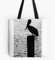 Brown Pelican in Silhouette Tote Bag