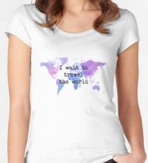I want to travel the world Camiseta entallada de cuello redondo