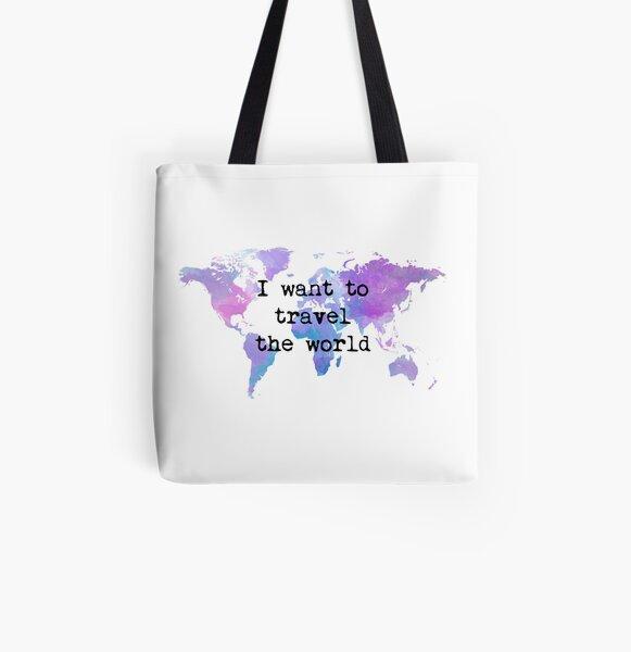 I want to travel the world Bolsa estampada de tela