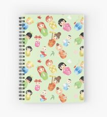 Kokeshi - Japanese Wooden Dolls Spiral Notebook