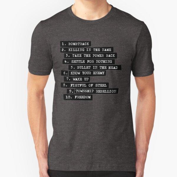 Rage Against The Machine Tracklist Slim Fit T-Shirt