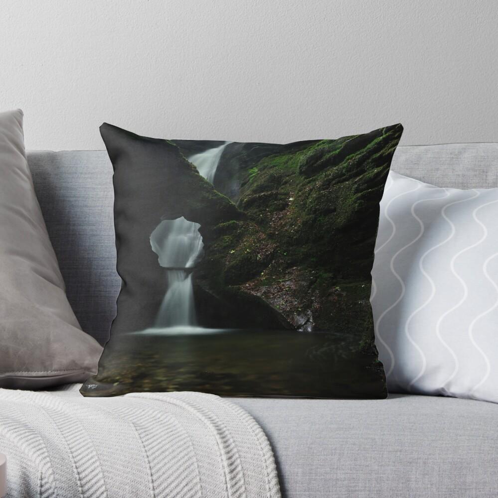 Nectans Glen Waterfall Throw Pillow