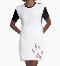 Whimsical Wolf Paw Graphic T-Shirt Dress