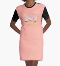Cute Little Rolling Wolf Graphic T-Shirt Dress