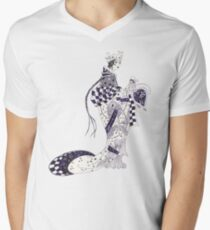 Inky Queen of the Orient V-Neck T-Shirt