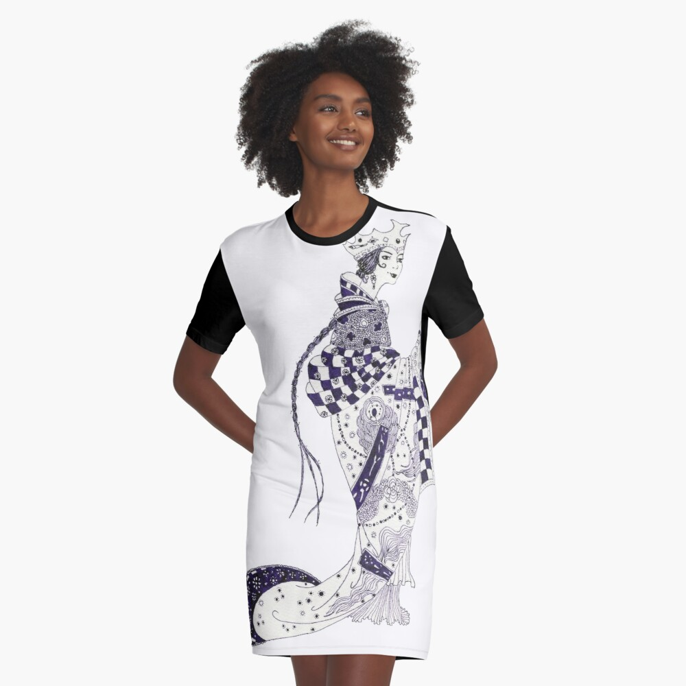 Inky Queen of the Orient Graphic T-Shirt Dress Front
