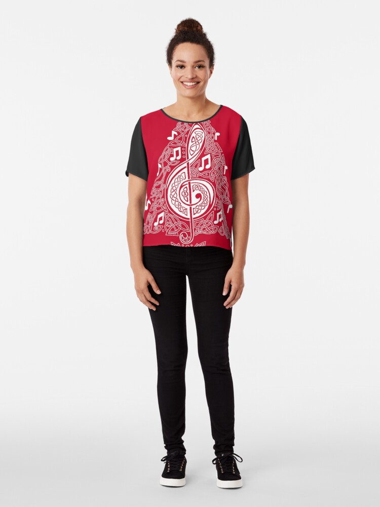 Alternate view of Red Musical Tree Chiffon Top