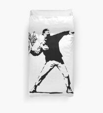 Rage Flower Bomber Stencil Black and White Duvet Cover