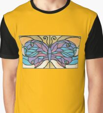 Tiffany Stained Glass Butterfly Graphic T-Shirt