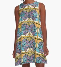 Tiffany Stained Glass Butterfly A-Line Dress