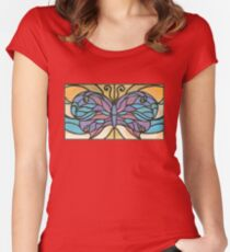Tiffany Stained Glass Butterfly Fitted Scoop T-Shirt