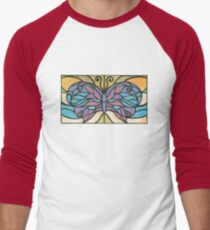 Tiffany Stained Glass Butterfly Baseball ¾ Sleeve T-Shirt